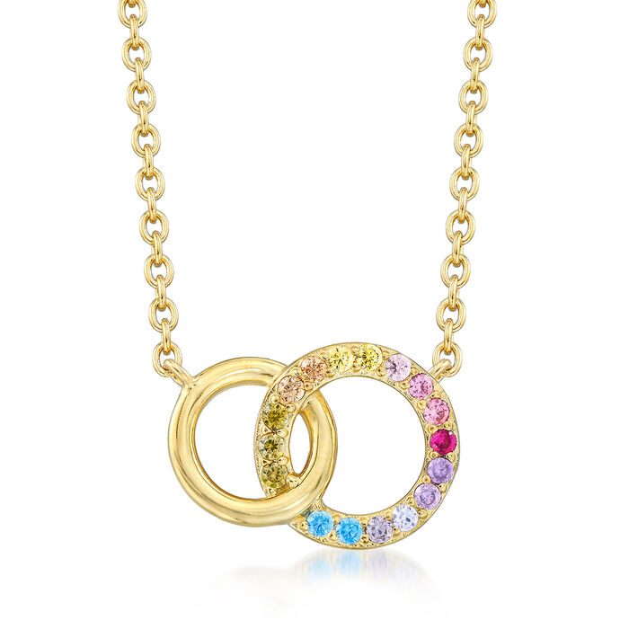 """.45 ct. t.w. Multicolored CZ Interlocking Double Circle Necklace in 18kt Gold Over Sterling. 16"""", , default"""
