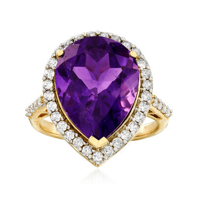 6.50 Carat Amethyst and .51 ct. t.w. Diamond Ring in 14kt Yellow Gold, , default