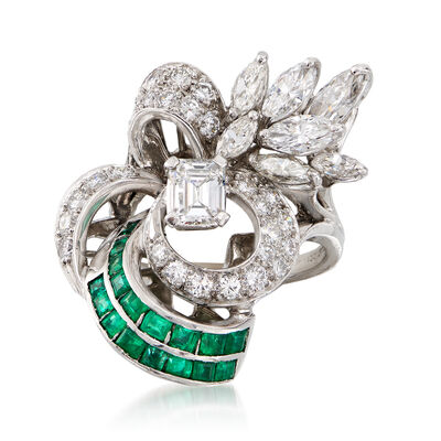 C. 1990 Vintage 2.05 ct. t.w. Diamond and .85 Emerald Cluster Ring in Platinum, , default