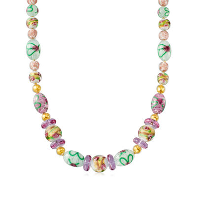 Italian Floral Murano Glass Bead Necklace in 18kt Gold Over Sterling, , default