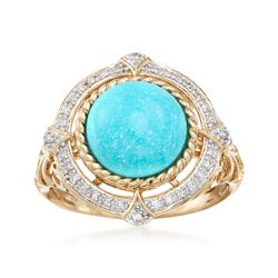 Turquoise and .10 ct. t.w. Diamond Ring in 14kt Yellow Gold, , default