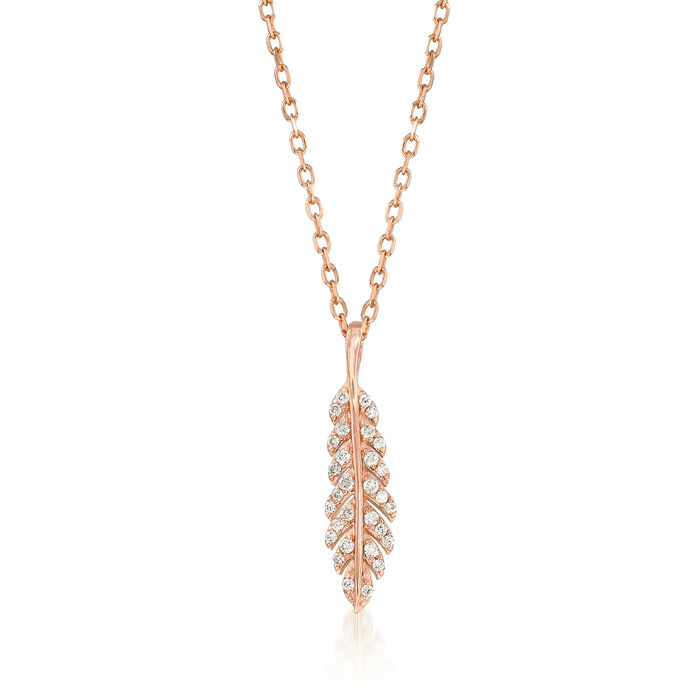 .12 ct. t.w. Diamond Feather Pendant Necklace in 14kt Rose Gold