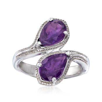 2.10 ct. t.w. Pear-Shaped Amethyst Bypass Ring in Sterling Silver. Size 7, , default