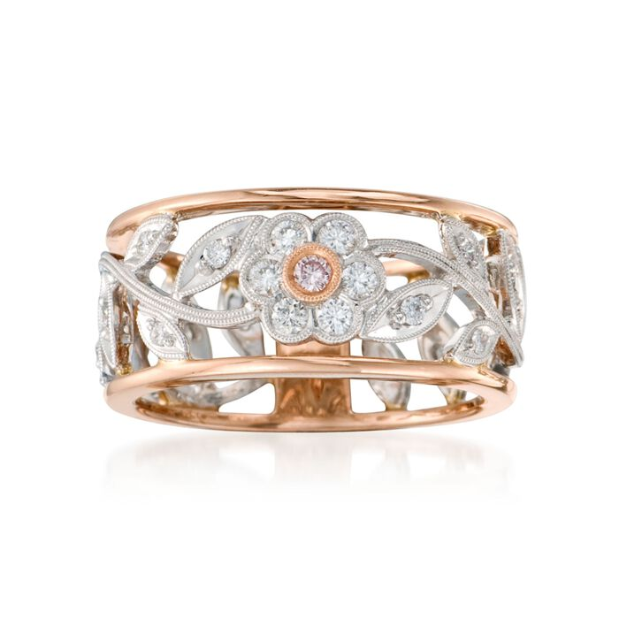 Simon G. .30 ct. t.w. Diamond Floral Band Ring in 18kt Two-Tone Gold