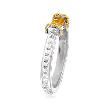 "Andrea Candela ""La Romana"" .45 Carat Citrine Ring in Sterling Silver and 18kt Yellow Gold. Size 7"