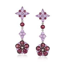 5.10 ct. t.w. Rhodolite Garnet and 2.60 ct. t.w. Amethyst Drop Earrings in Sterling Silver , , default
