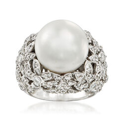 C. 1990 Vintage 14mm Cultured Pearl and 2.20 ct. t.w. Diamond Ring in 18kt White Gold, , default