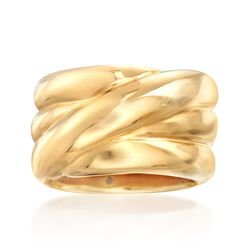 Italian 14kt Yellow Gold Wide Crisscross Band, , default