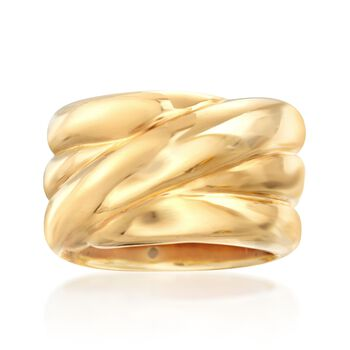 Italian 14kt Yellow Gold Wide Crisscross Band. Size 5, , default