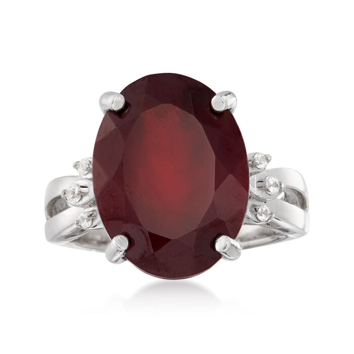 11.00 Carat Garnet and .10 ct. t.w. White Topaz Ring in Sterling Silver