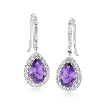2.20 ct. t.w. Amethyst and .20 ct. t.w. Diamond Earrings in 14kt White Gold, , default