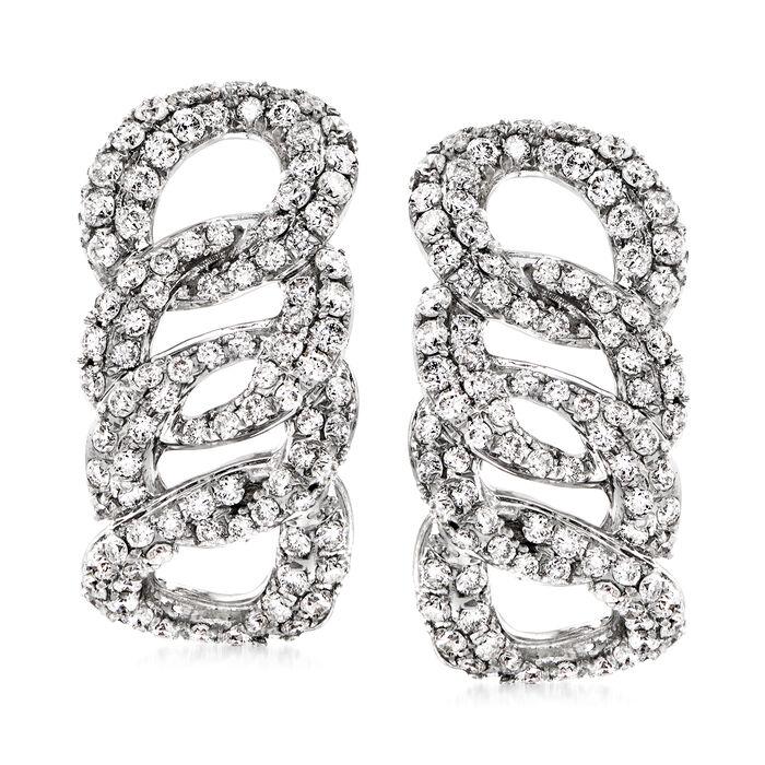 1.35 ct. t.w. Diamond Cuban-Link Earrings in 14kt White Gold, , default