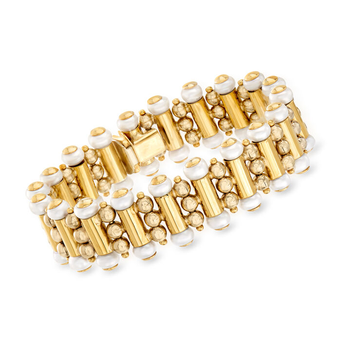 """C. 1980 Vintage 5.5mm Cultured Pearl Beaded Bracelet in 18kt Yellow Gold. 7"""""""