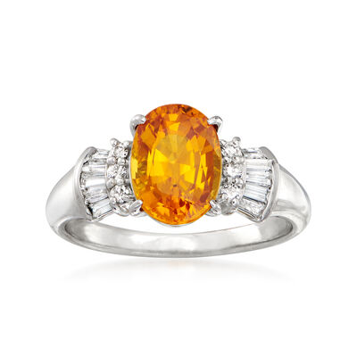 C. 1990 Vintage 2.23 Carat Yellow Sapphire and .22 ct. t.w. Diamond Ring in Platinum