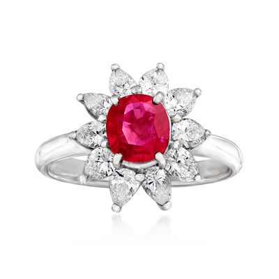 C. 2010 Vintage 1.16 Carat Certified Ruby and 1.07 ct. t.w. Diamond Flower Ring in Platinum