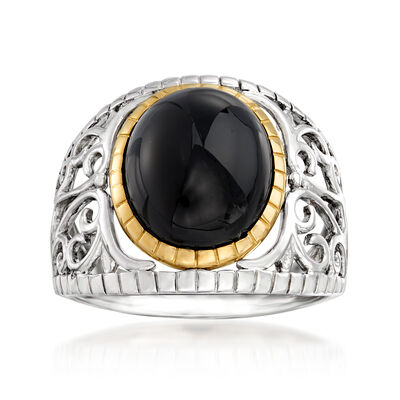Black Onyx Ring in Sterling Silver with 14kt Gold