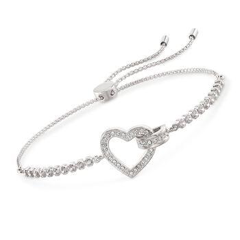 """Swarovski Crystal """"Lovely"""" Open-Space Heart Bolo Bracelet in Silvertone , , default"""