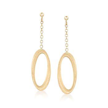 Italian 14kt Yellow Gold Open Oval Drop Earrings , , default