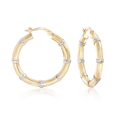 14kt Two-Tone Gold Diamond-Cut and Polished Station Hoop Earrings, , default