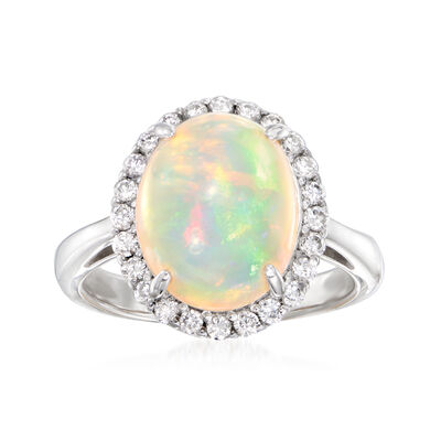 C. 1980 Vintage Opal and .48 ct. t.w. Diamond Ring in Platinum