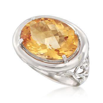 12.00 Carat Bezel-Set Citrine Ring in Sterling Silver, , default