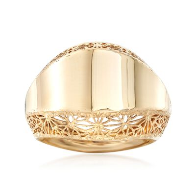 Italian 14kt Yellow Gold Filigree-Edged Ring, , default