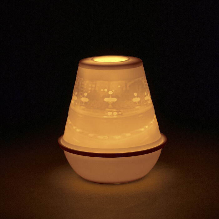 "Lladro ""City at Night"" Porcelain Lithophane Votive Light"