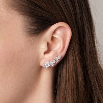 4.40 ct. t.w. CZ Cluster Ear Crawlers in Sterling Silver, , default