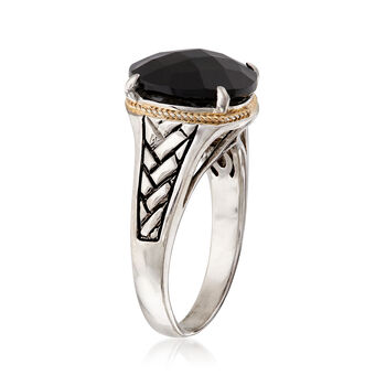 Oval Black Onyx Braid Ring in Sterling Silver and 14kt Yellow Gold, , default