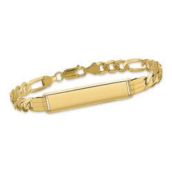 "Men's 14kt Yellow Gold Three-Initial Flat Figaro-Link ID Bracelet. 8"", , default"