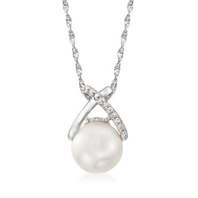 9mm Cultured Pearl Pendant Necklace with Diamond Accents in 14kt White Gold, , default