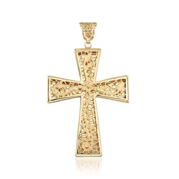 Italian 18kt Yellow Gold Brushed and Polished Floral Filigree Cross Pendant, , default