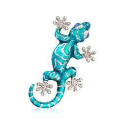 Italian Blue Enamel, .30 ct. t.w. CZ and Blue Chalcedony Gecko Pin in Sterling Silver, , default