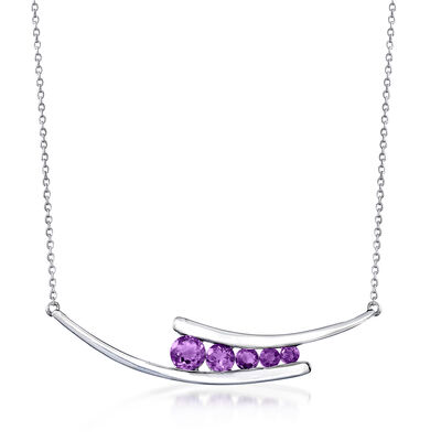 1.30 ct. t.w. Graduated Amethyst Bar Necklace in Sterling Silver, , default