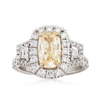 Henri Daussi 2.81 ct. t.w. Yellow and White Diamond Engagement Ring in 18kt White Gold, , default