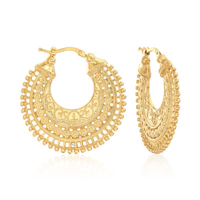 Italian 18kt Gold Over Sterling Embellished Hoop Earrings, , default