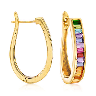 2.80 ct. t.w. Multi-Gemstone Hoop Earrings in 18kt Gold Over Sterling
