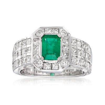 1.72 ct. t.w. Diamond and 1.00 Carat Emerald Ring in 14kt White Gold
