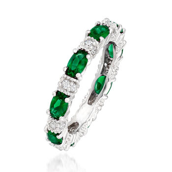 2.00 ct. t.w. Simulated Emerald and .30 ct. t.w. CZ Band in Sterling Silver, , default