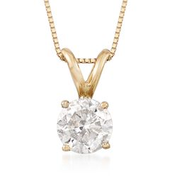 1.00 Carat Diamond Solitaire Necklace in 14kt , , default