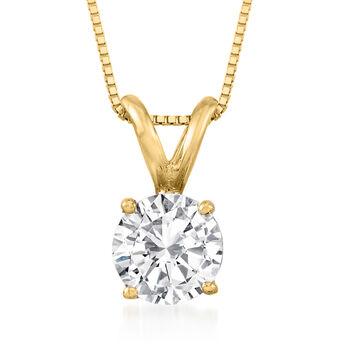 1.00 Carat Diamond Solitaire Necklace in 14kt , , default