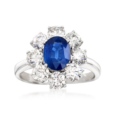 1.50 Carat Sapphire and 2.00 ct. t.w. Diamond Floral Ring in 14kt White Gold, , default