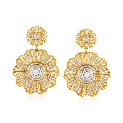3.00 ct. t.w. Diamond Flower Drop Earrings in 18kt Gold Over Sterling