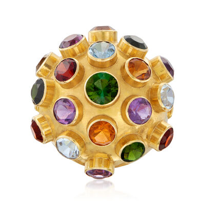 C. 1970 Vintage 4.30 ct. t.w. Multi-Gem Ball Ring in 18kt Yellow Gold, , default