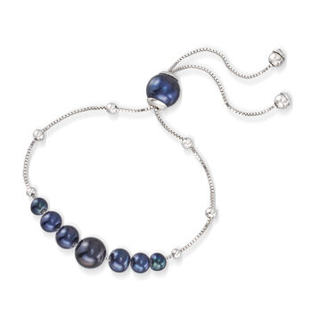 4-9.5mm Graduated Cultured Black Pearl and Sterling Silver Bolo Bracelet