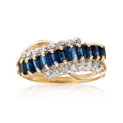 C. 1980 Vintage 2.20 ct. t.w. Sapphire Wavy Ring with Diamond Accents in 14kt Yellow Gold, , default