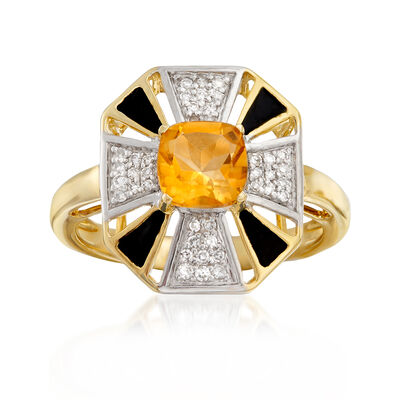 .90 Carat Citrine and .15 ct. t.w. Diamond Ring with Black Enamel in 14kt Yellow Gold