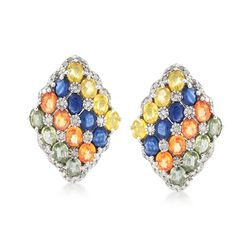 7.00 ct. t.w. Multicolored Sapphire and .56 ct. t.w. Diamond Drop Earrings in Sterling Silver, , default