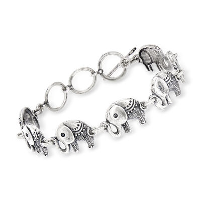 Sterling Silver Elephant Link Bracelet, , default