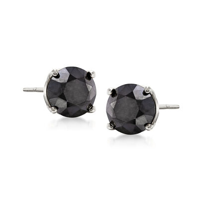 1.50 ct. t.w. Black Diamond Stud Earrings in 14kt White Gold, , default